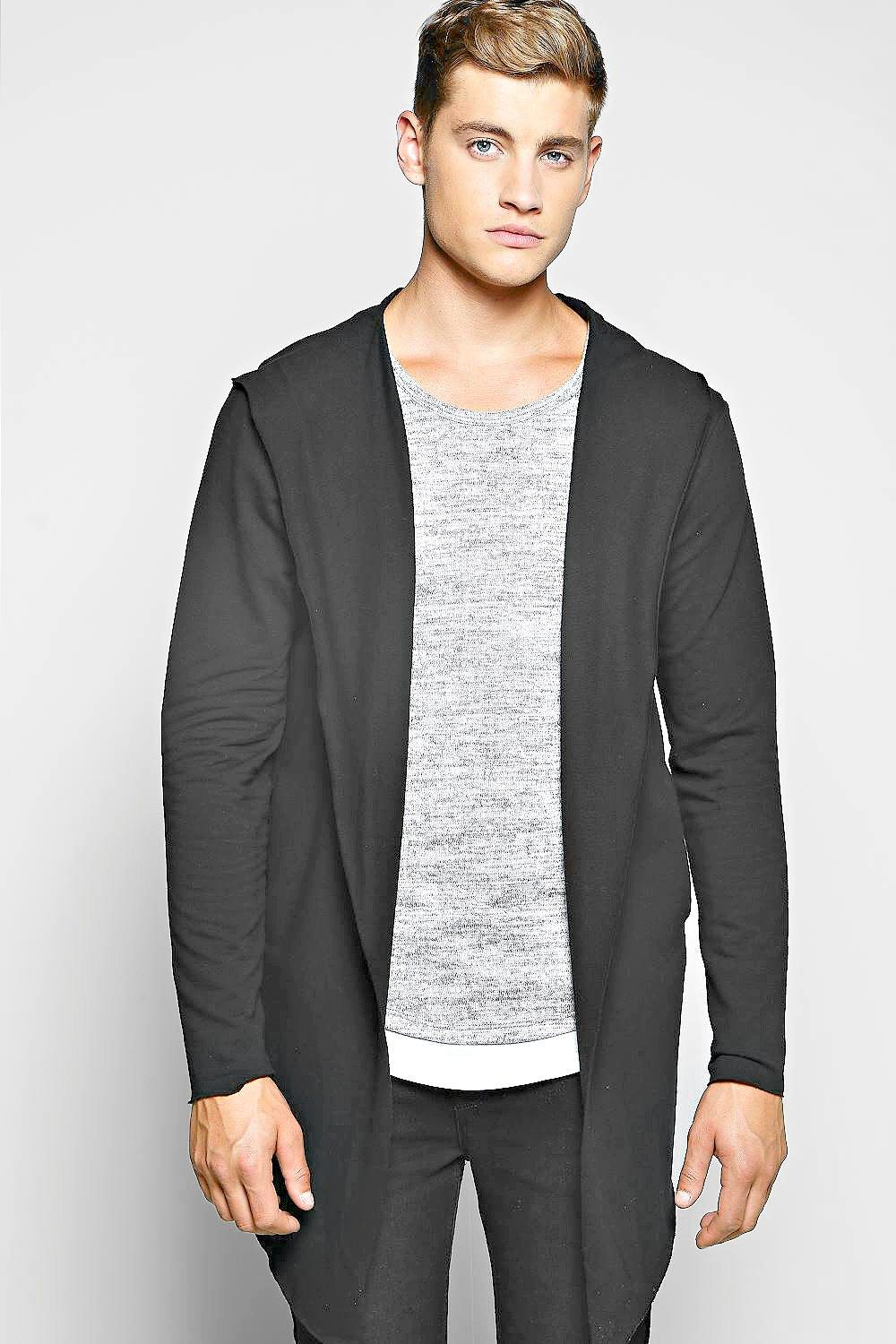 Longline Raw Edge Hooded Cardigan