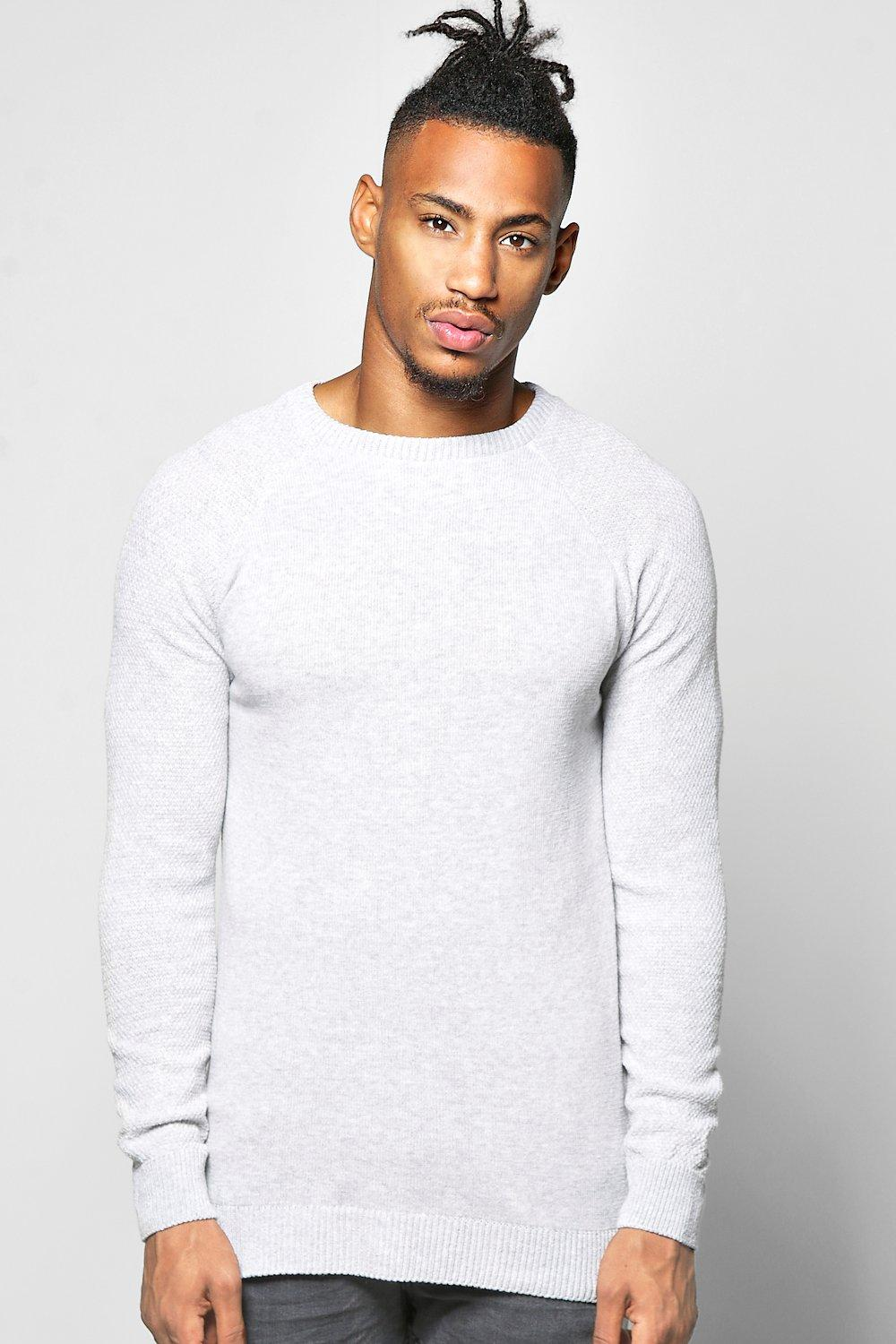 Raglan Sleeve Textured Crew Sweater