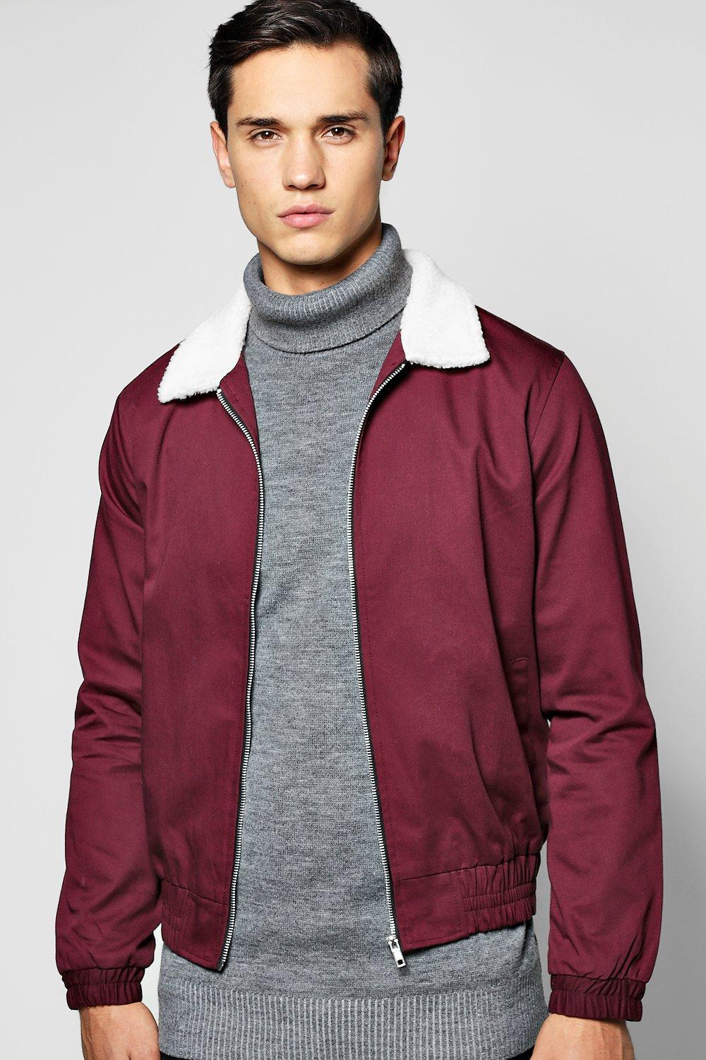 Borg Collar Harrington Jacket With Zip Pockets