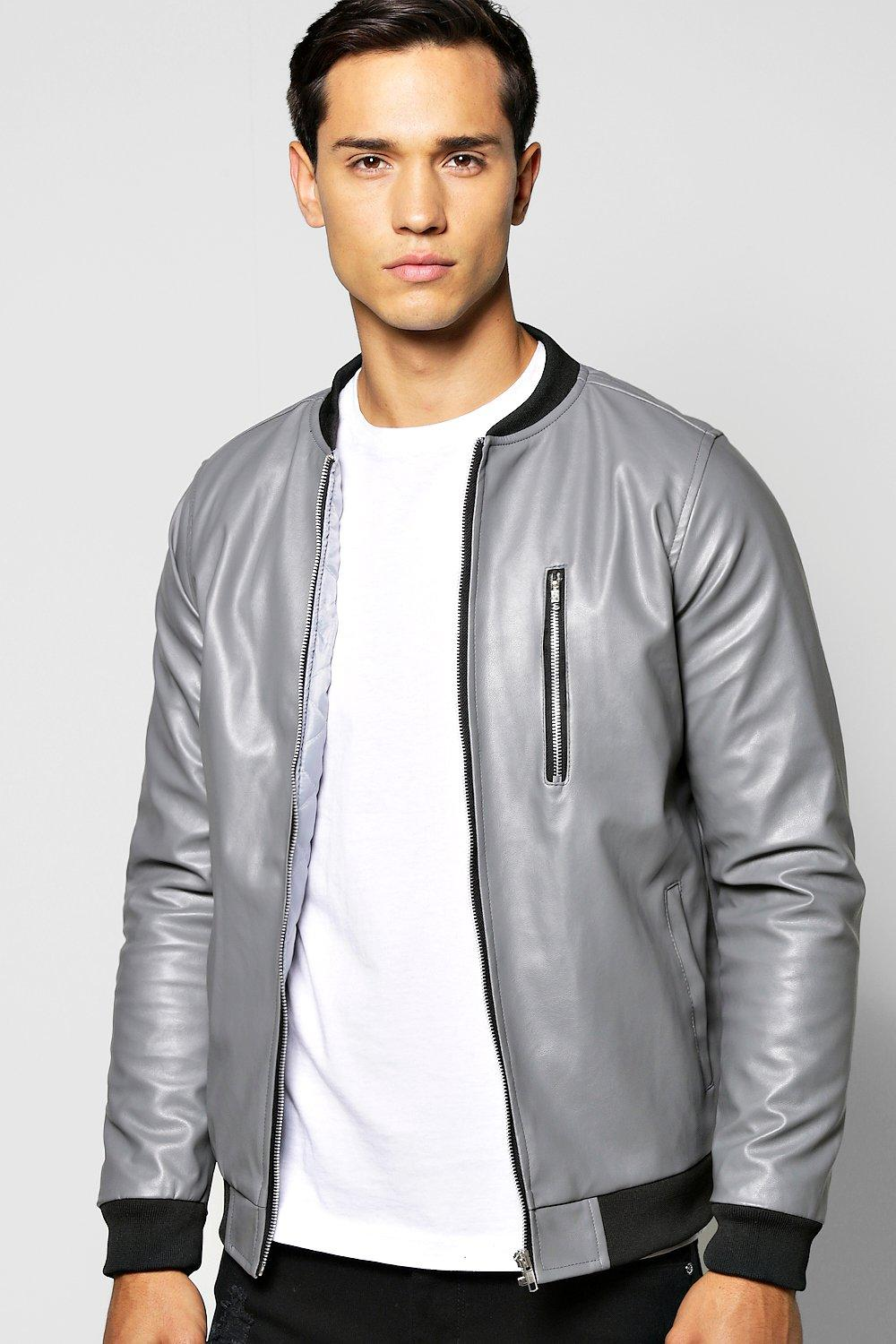 PU MA1 Bomber Jacket With Zipped Chest Pocket
