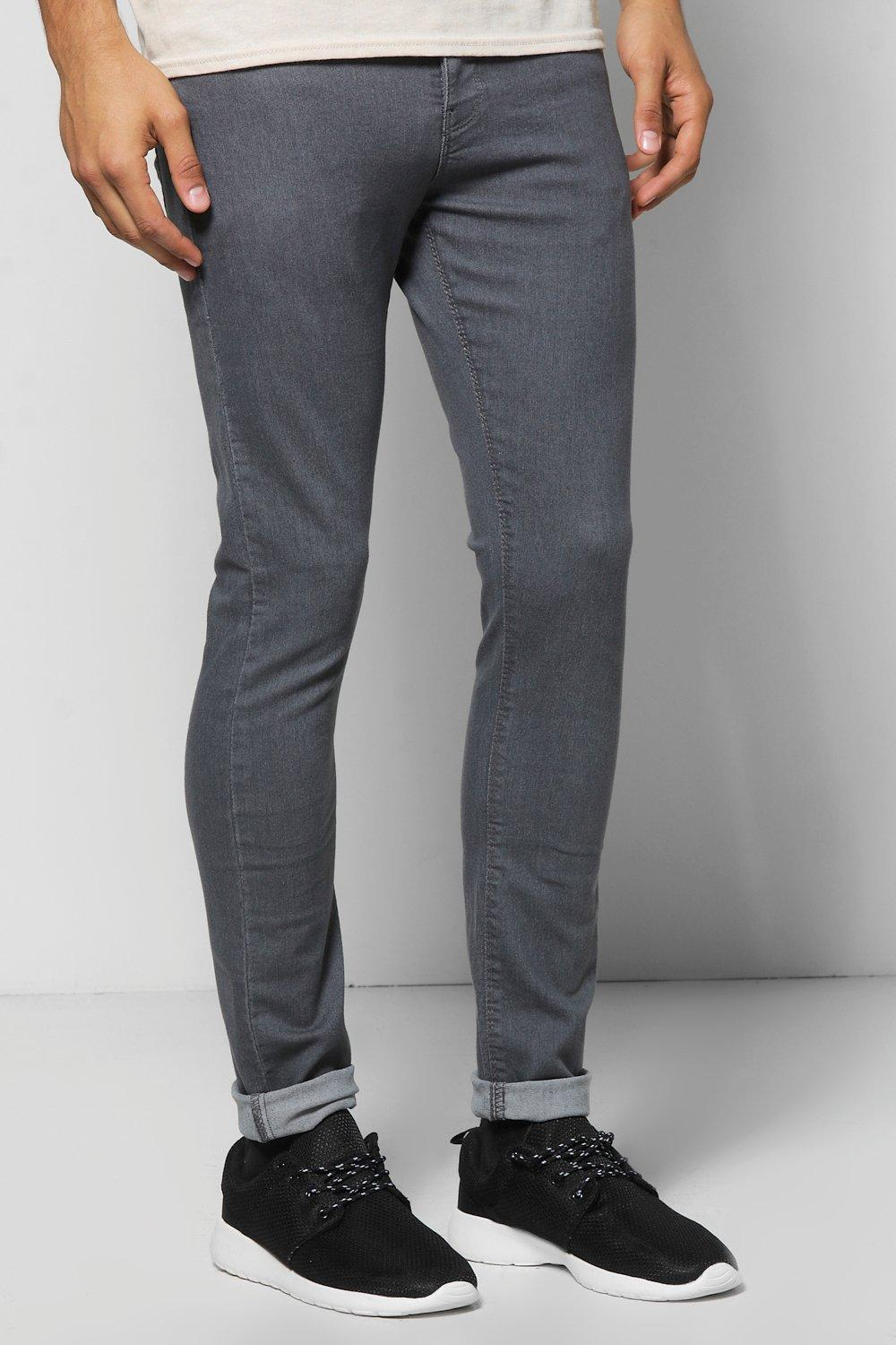 Slim Fit Grey Jeans With Zip Pocket Detail