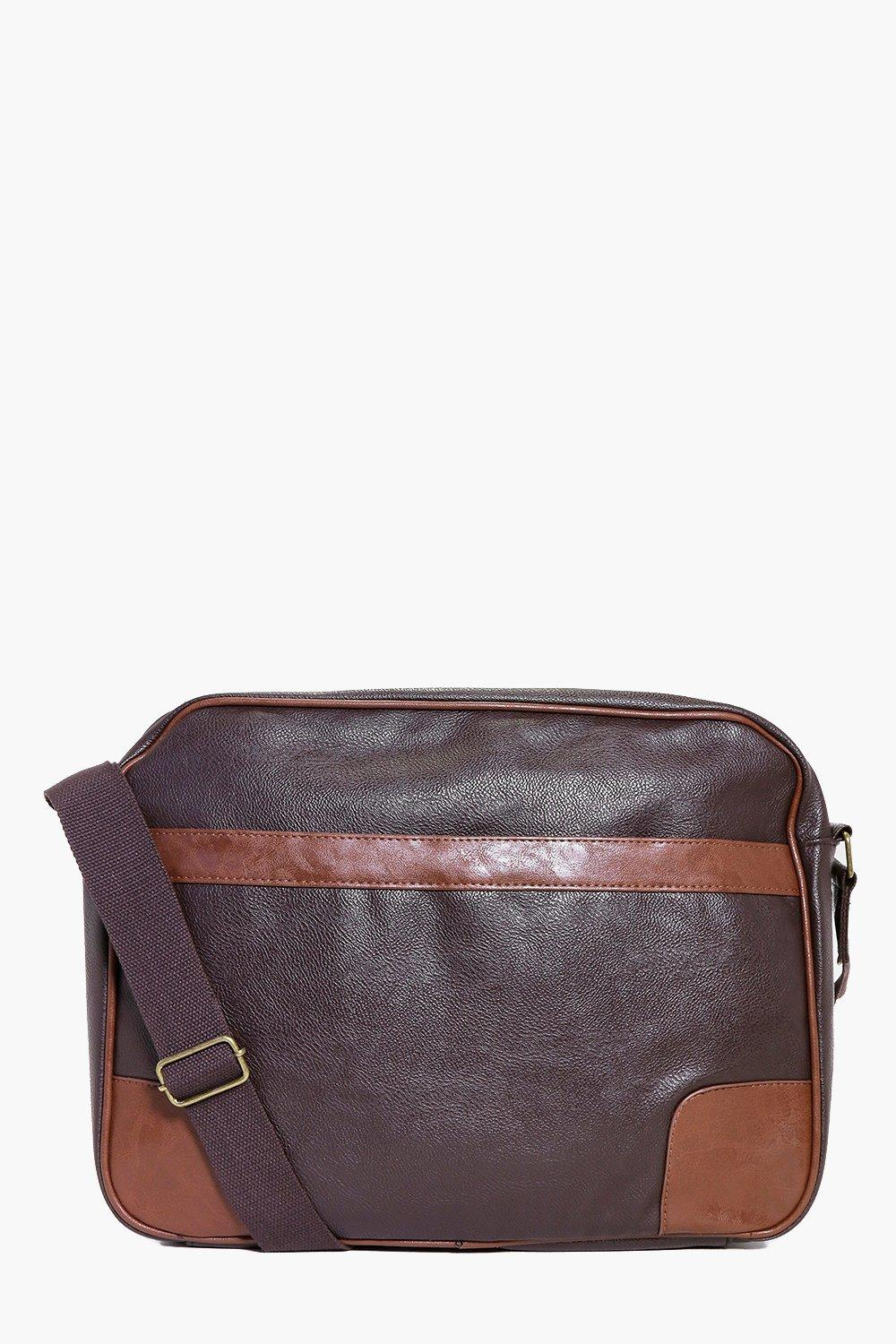 Panelled PU Cross Body Satchel