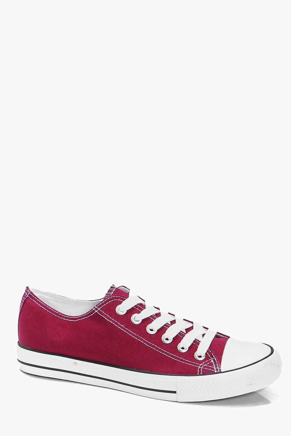 Burgundy Canvas Plimsolls