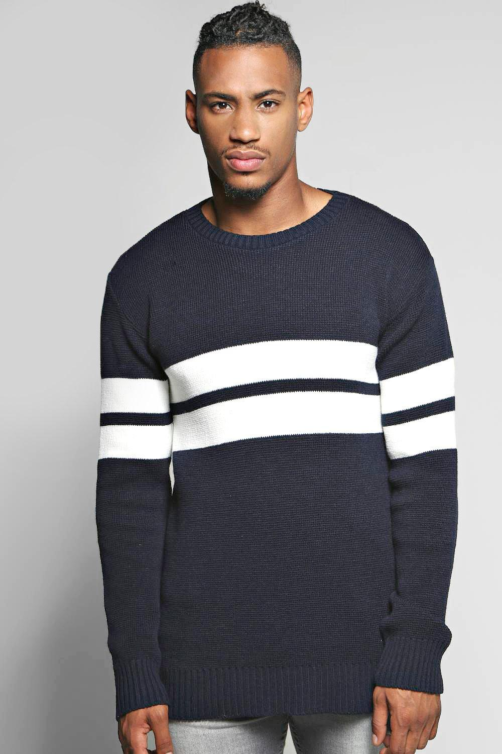 Chest Stripe Crew Neck Sweater