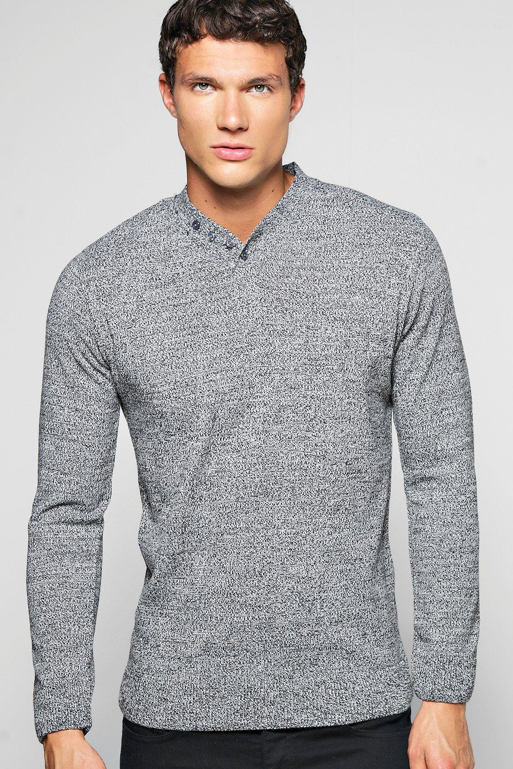 Y Neck Placket Sweater in Mixed Yarn