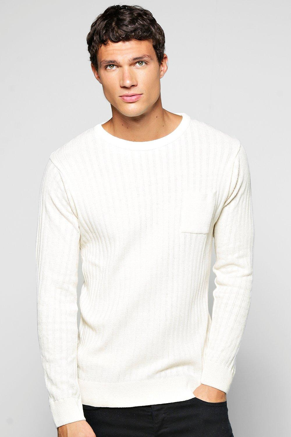 Ribbed Sweater With Patch Pocket