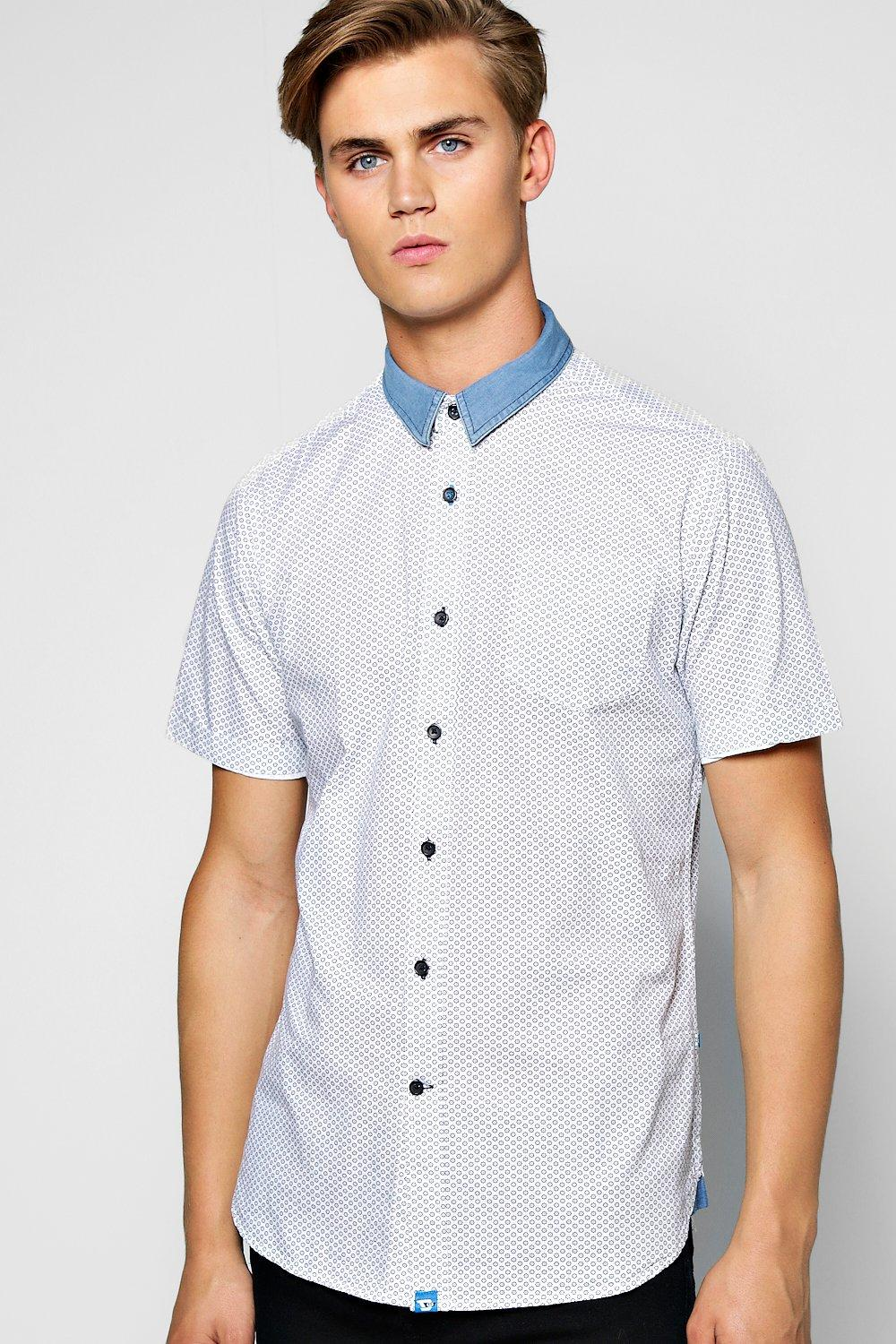 Short Sleeve Geo Print Shirt With Denim Collar