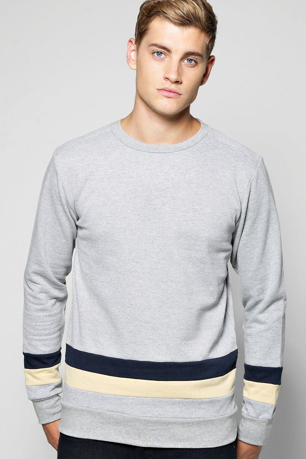 Crew Neck 2 Panel Sweater