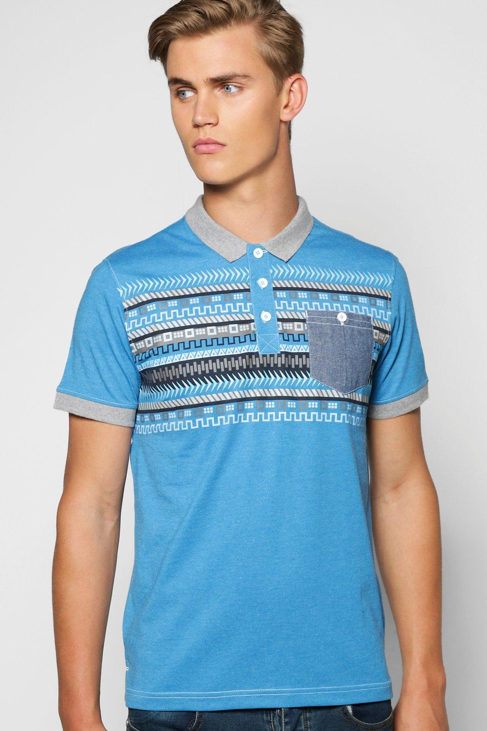 Chambray Pocket Aztec Polo