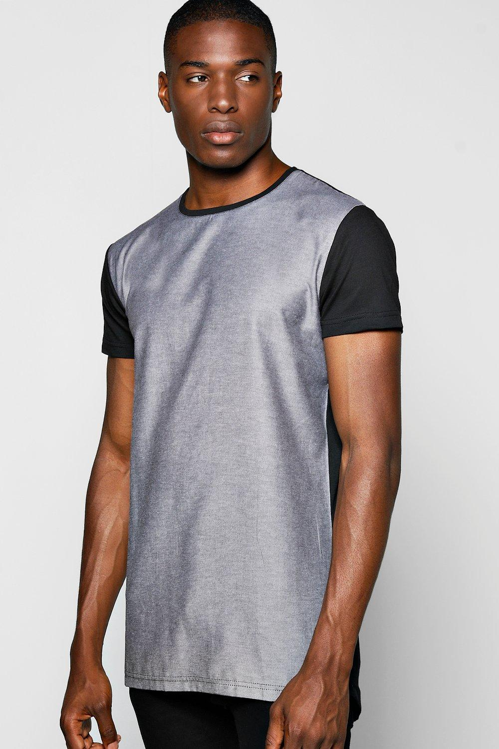 Woven Front Panel T Shirt