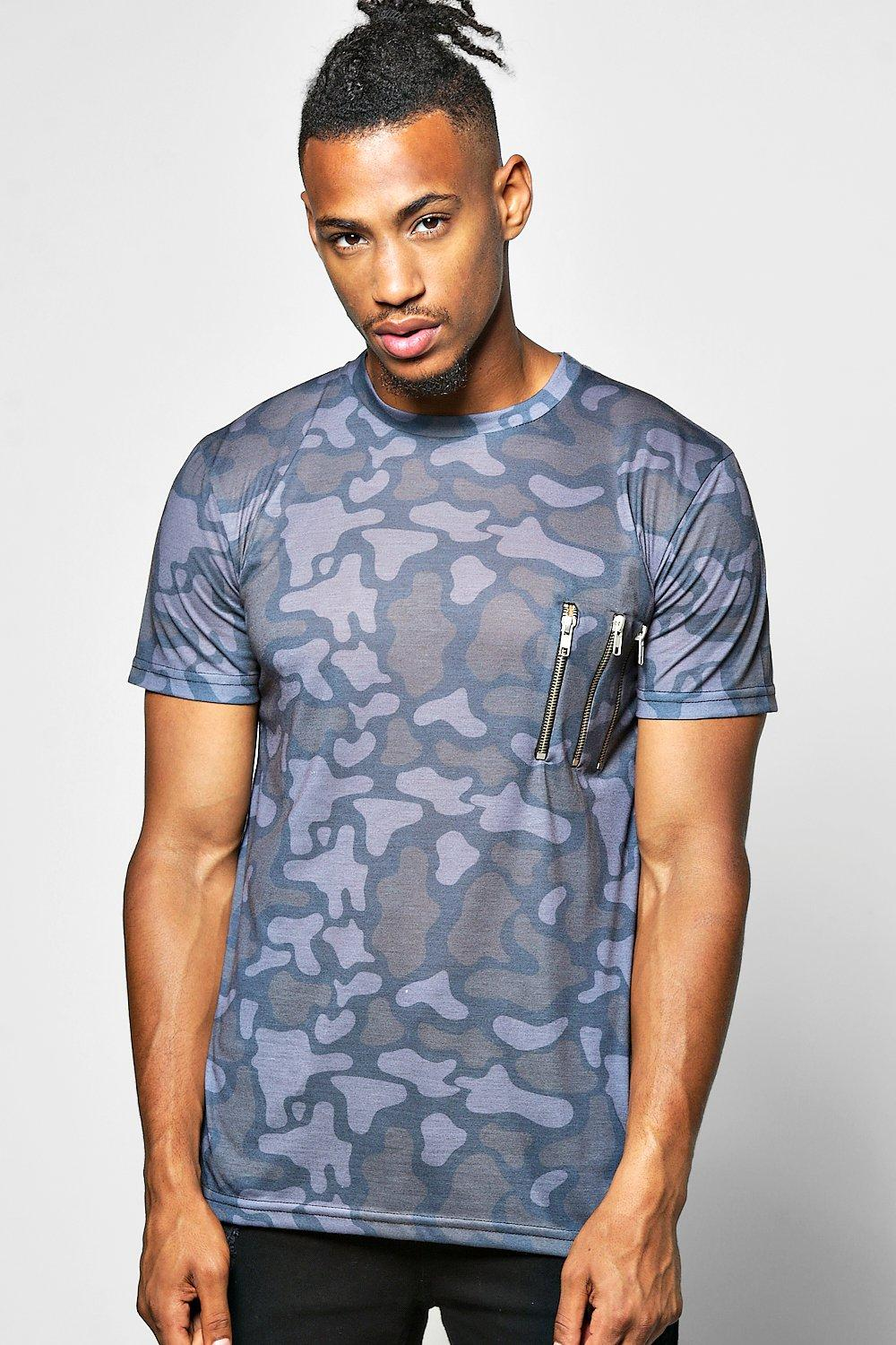 Camo Sublimation T Shirt With Zip Detail