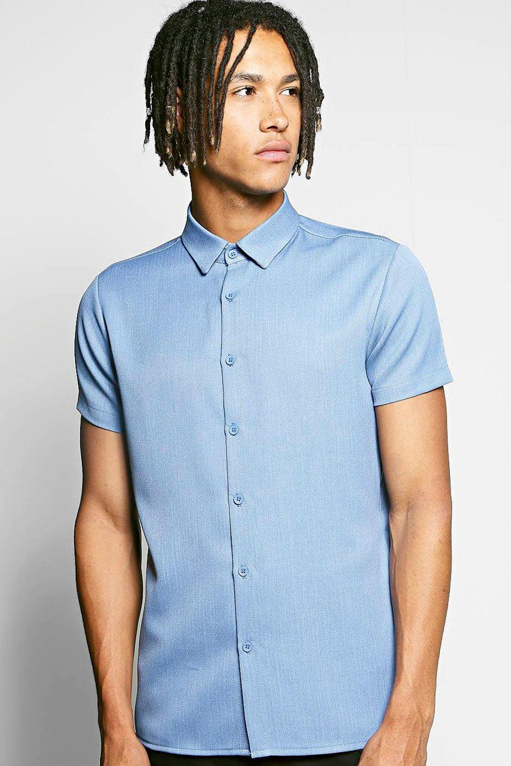 Herringbone Texture Short Sleeve Shirt