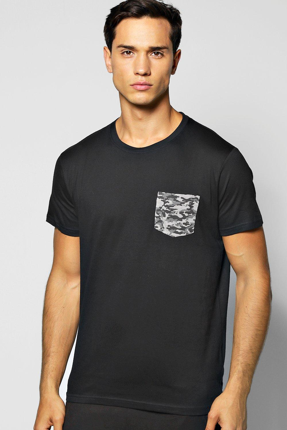 Camo Pocket Crew Neck T Shirt