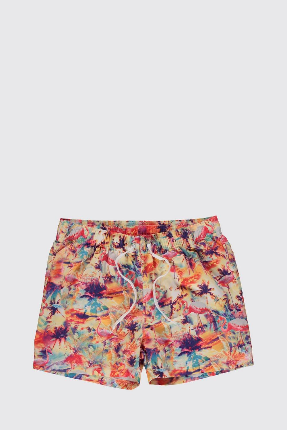 Flamingo Print Short Swim Shorts