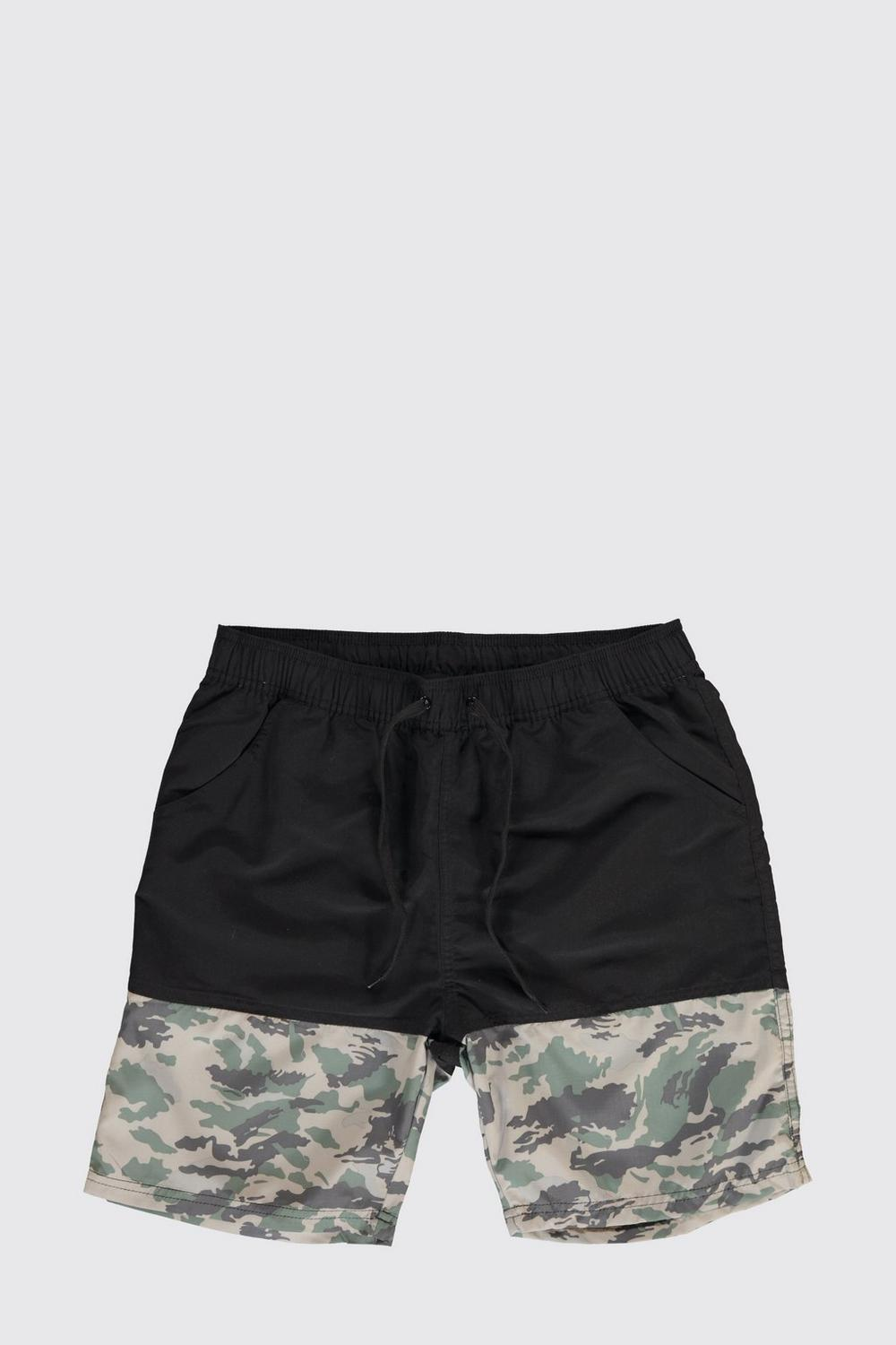 Mid Length Camo Panel Swim Shorts