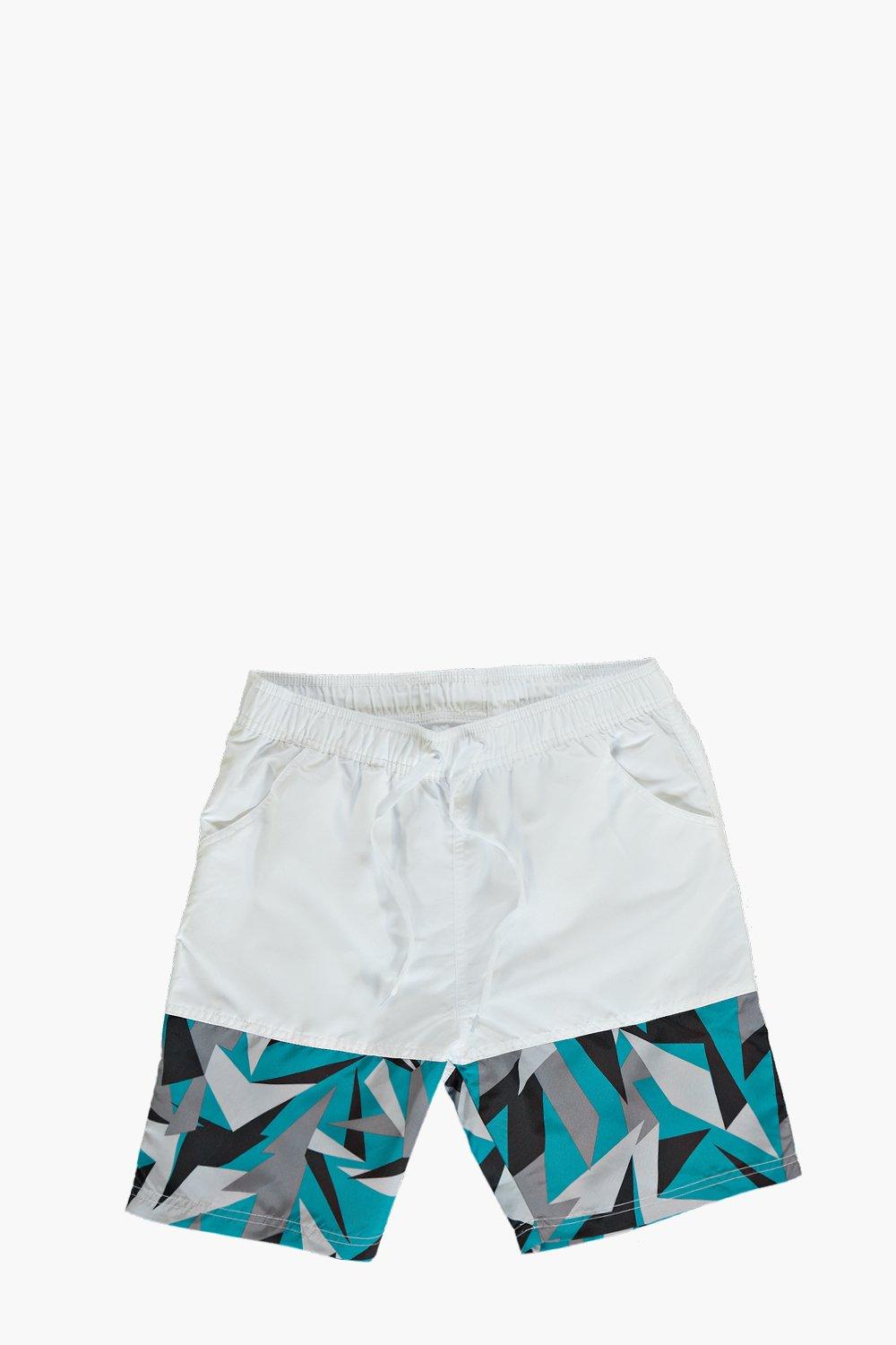 Mid Length Geo Panel Swim Shorts
