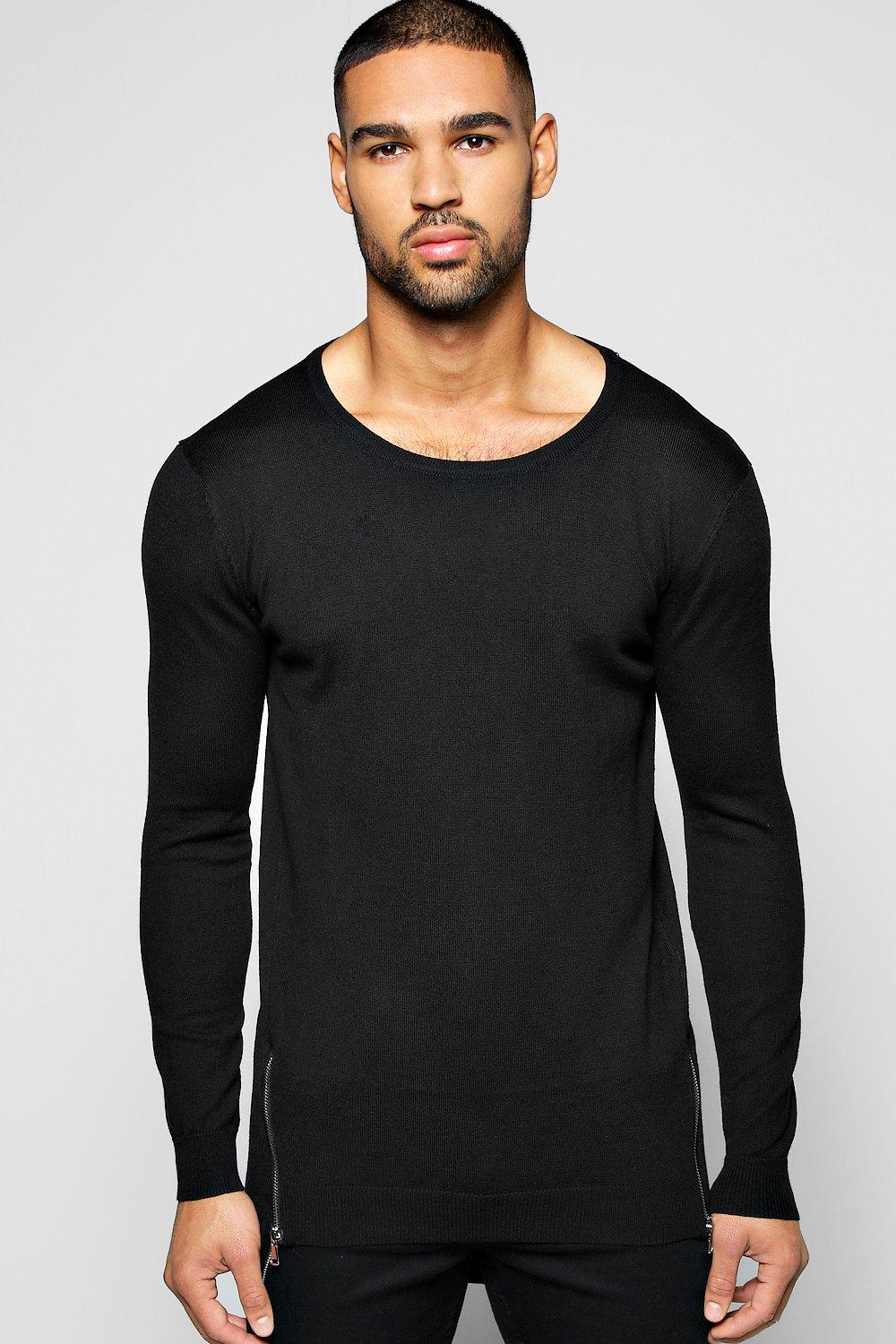 Longline Double Zipped Round Neck Jumper