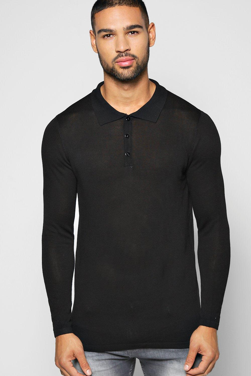 Long Sleeve Smart Knitted Polo