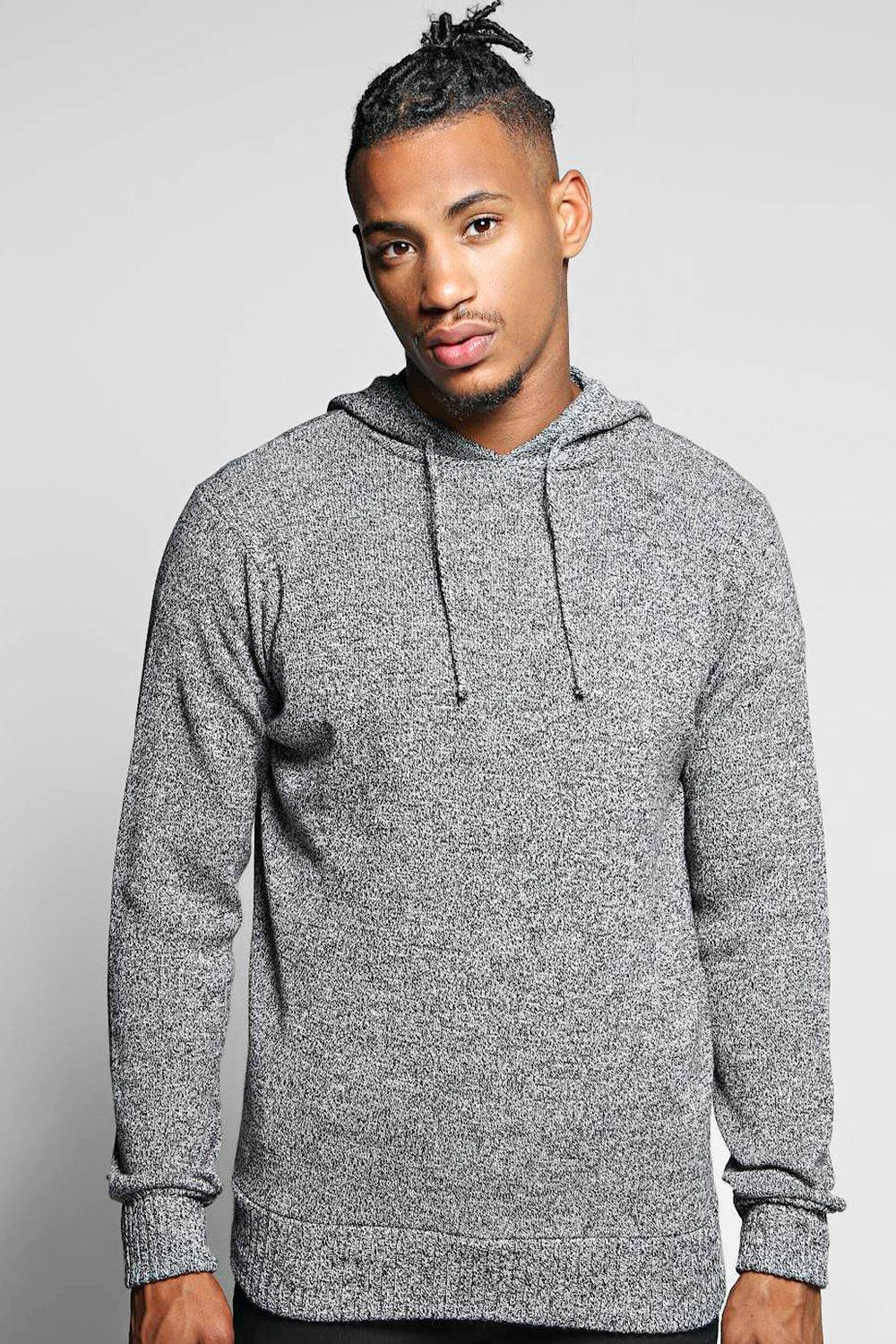Mixed Yarn Hooded Knitted Tracksuit Top