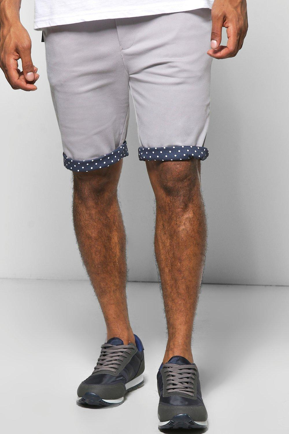 Polka Dot Contrast Turn Up Stretch Chino Short