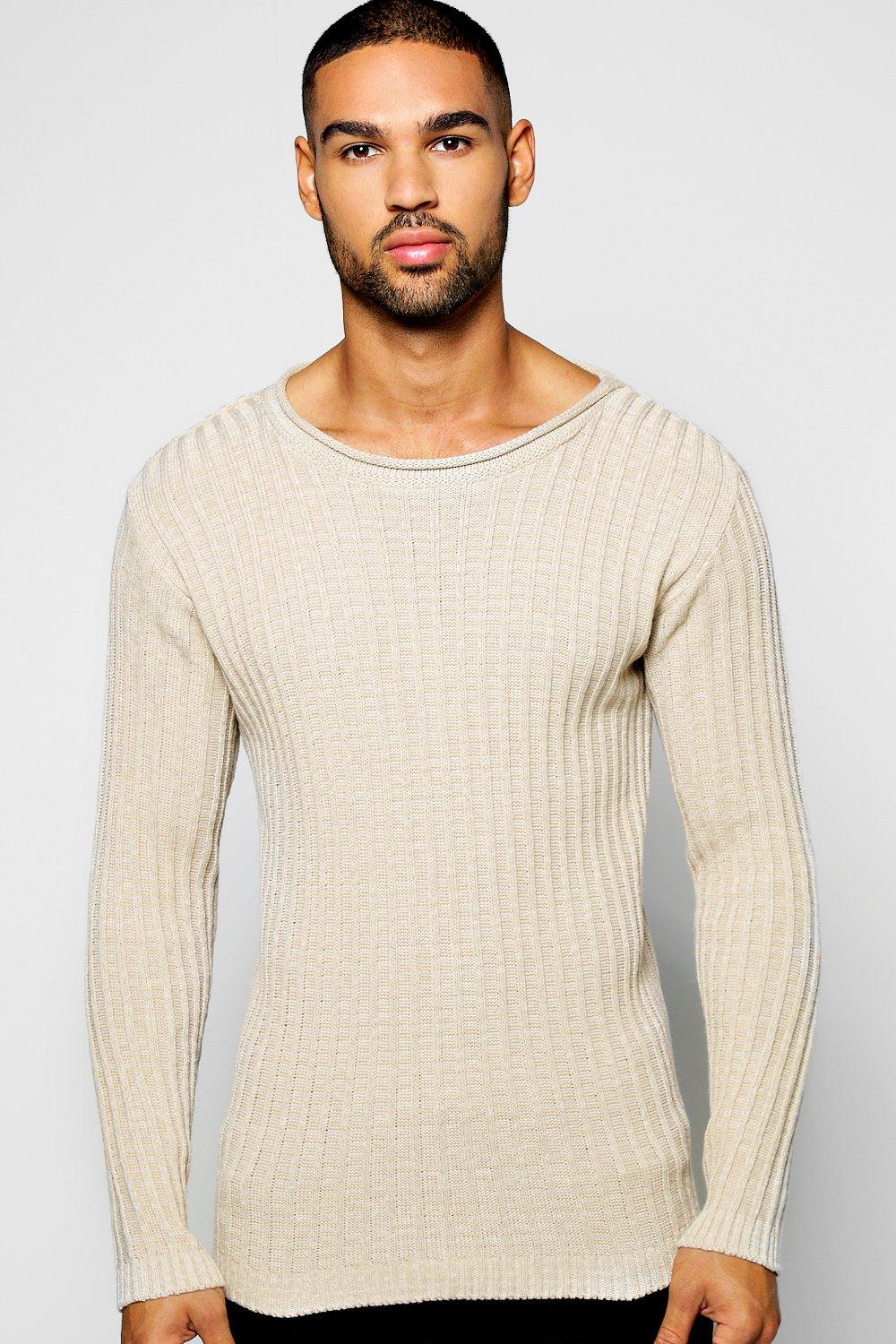 Muscle Fit Mixed Yarn Ribbed Jumper