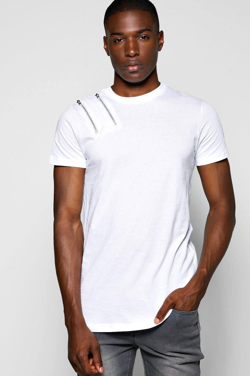 Skater Fit Zip T Shirt With Scoop Hem