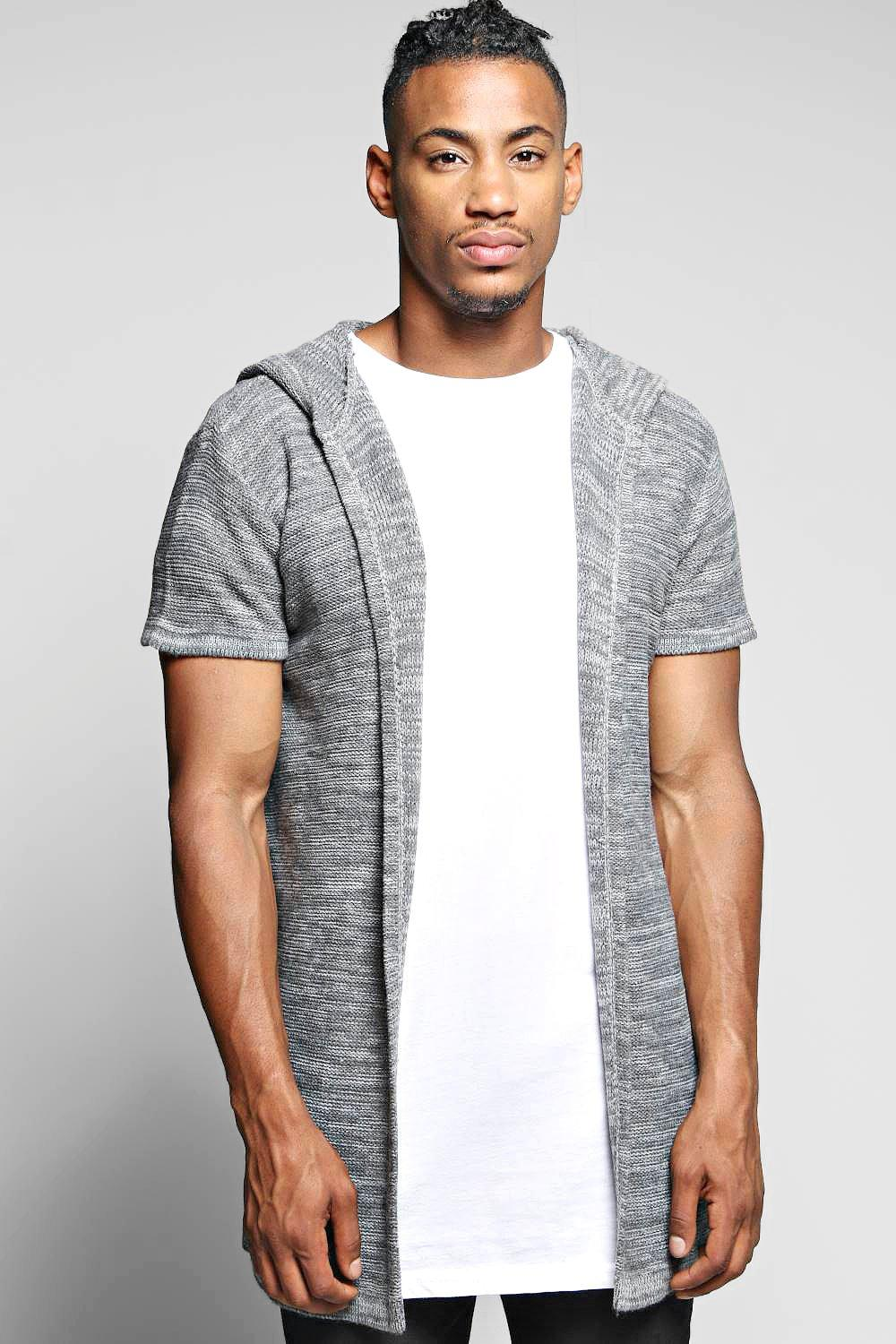 Cap Sleeved Hooded Cardi With Step Hem