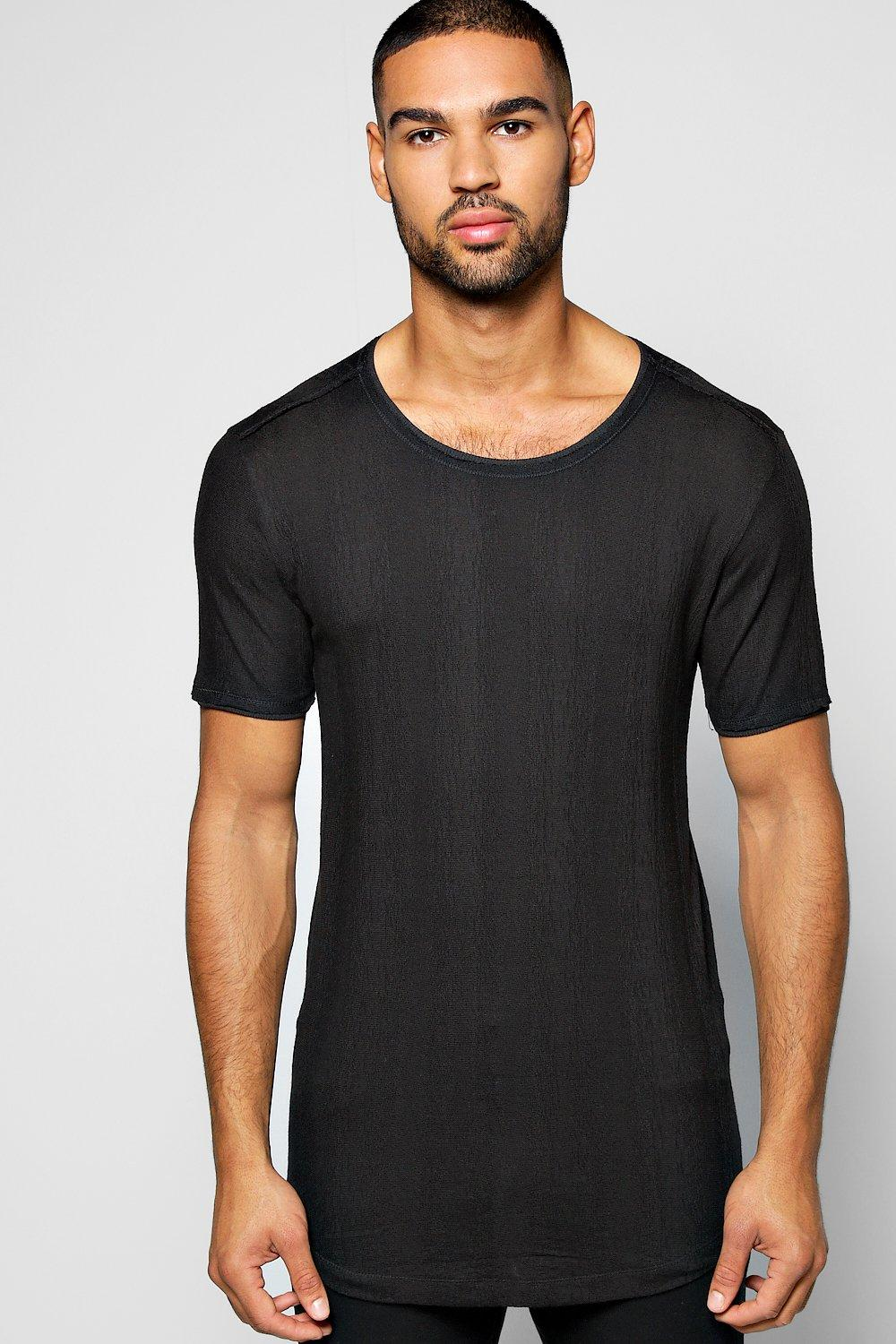 Textured Crew Neck T Shirt With Zip Details