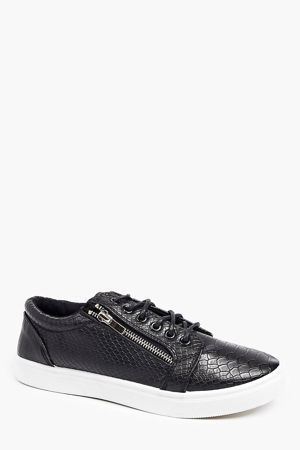 PU Croc Lace Up With Zip Details