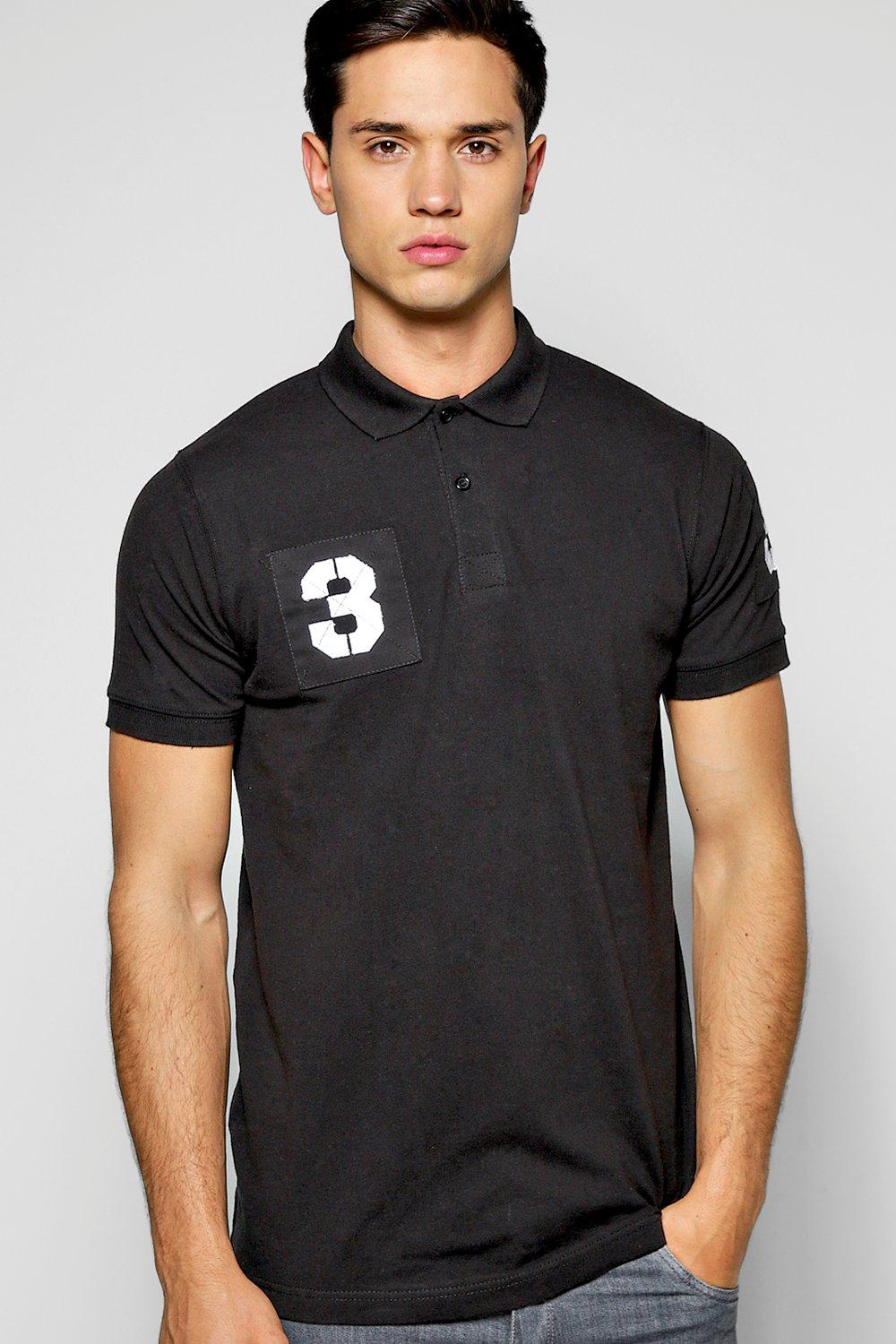 Cotton Pique Polo With Embroidered Number