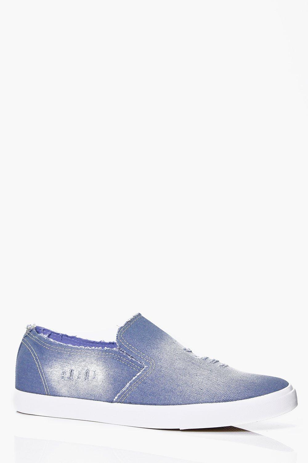 Distressed Washed Blue Slip On Plimsolls