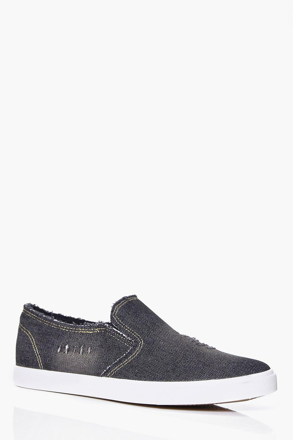 Distressed Washed Black Slip On Plimsolls