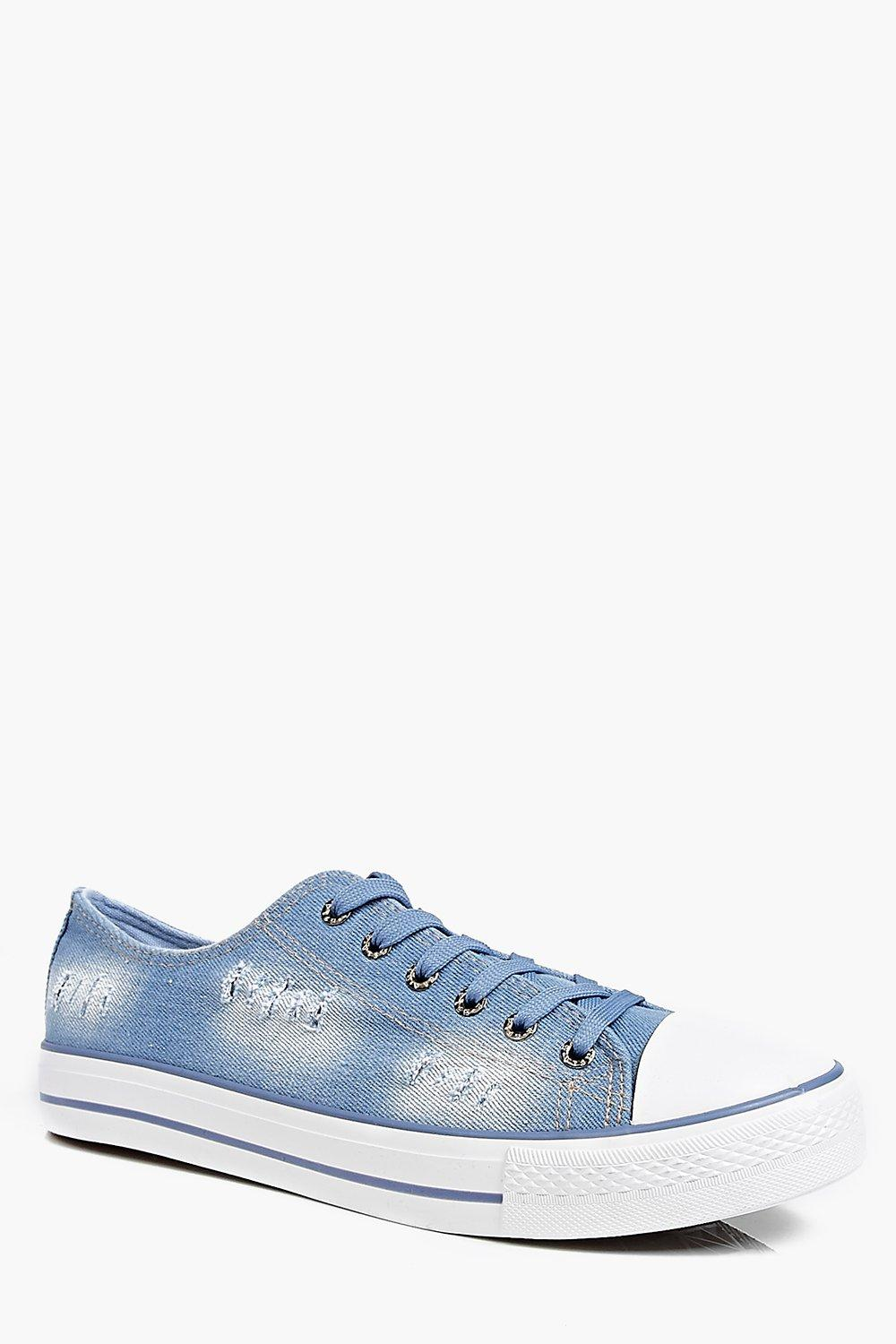 Distressed Washed Blue Lace Up Plimsolls