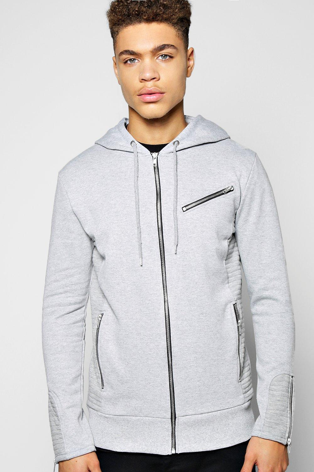 Biker Zip Through Hoody