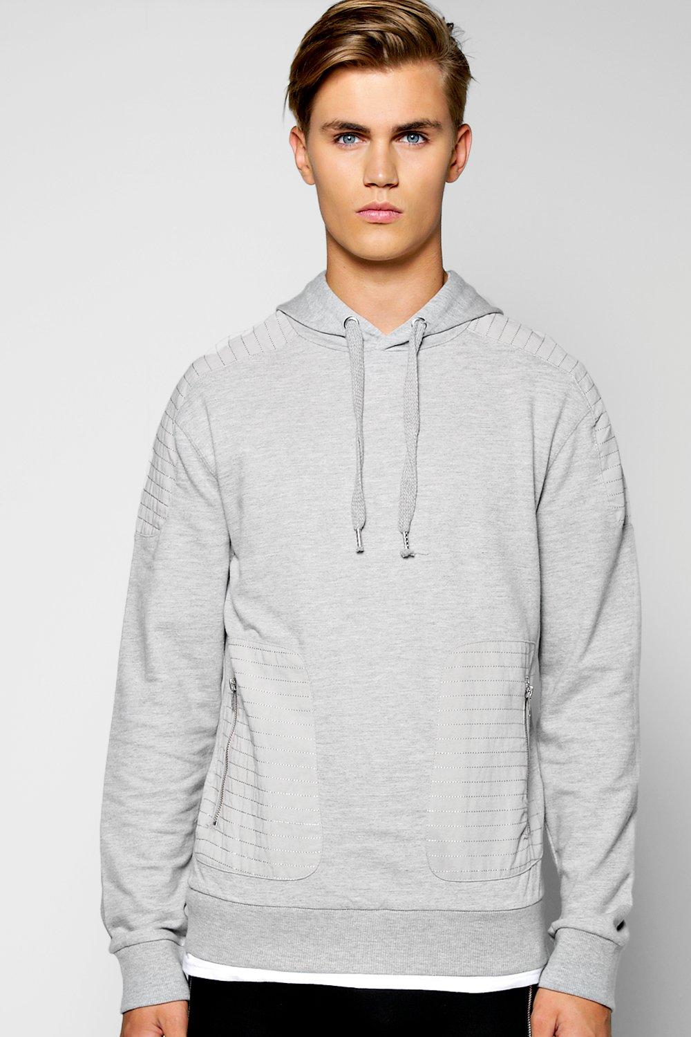 Panelled Cuffed Hoody With Zip Details