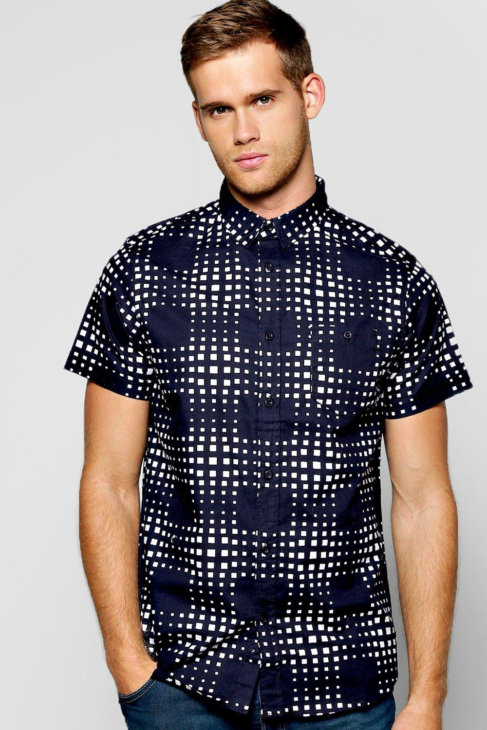 All Over Square Print Short Sleeve Shirt