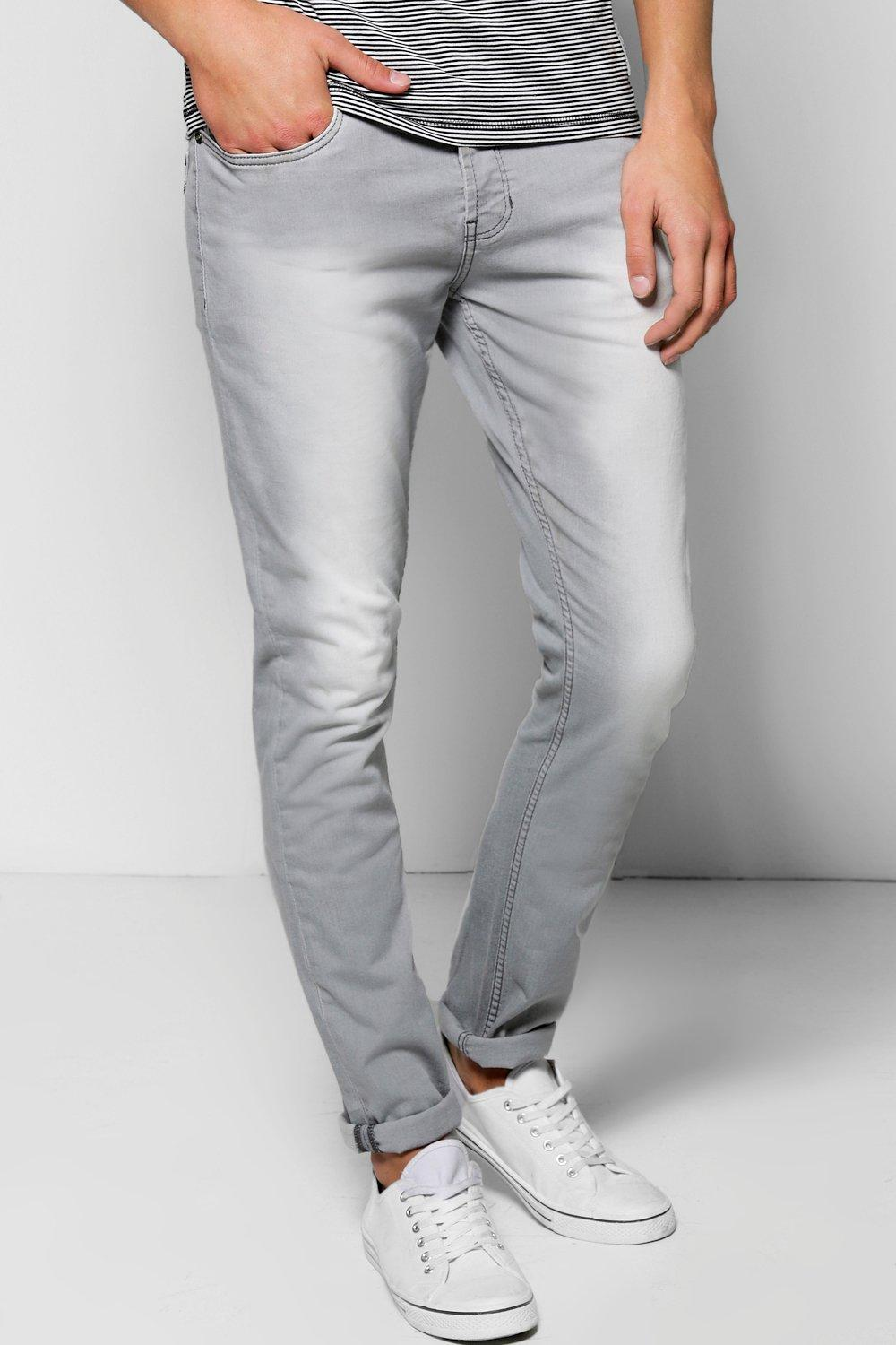 Slim Fit Light Grey Jean with Sandblasting