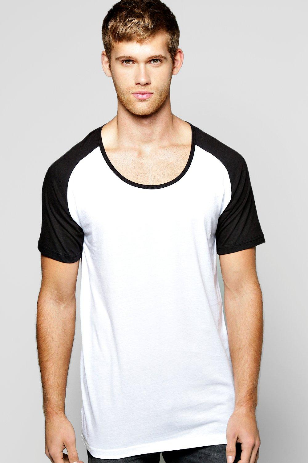 Scoop Neck T Shirt With Raglan Sleeves