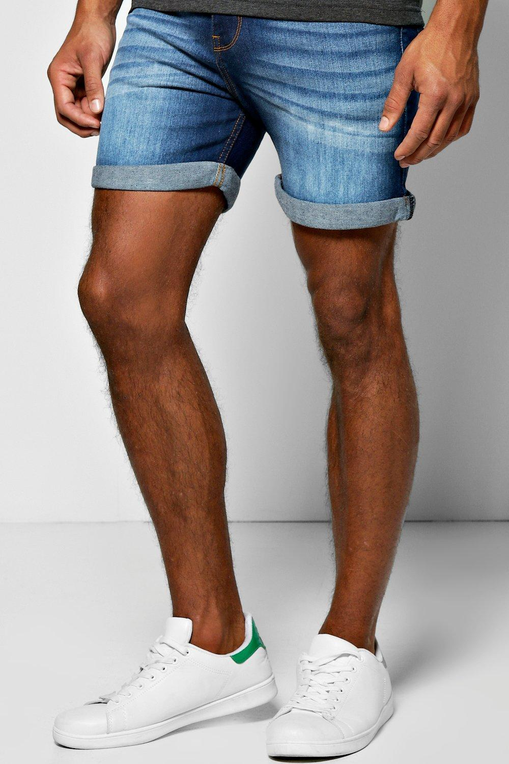 Skinny Fit Indigo Wash Denim Shorts in Short Length