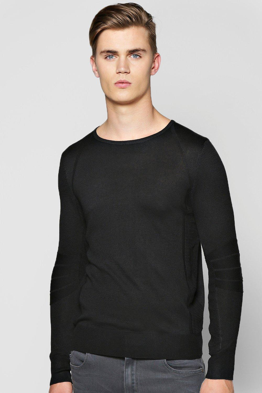 Crew Neck Ribbed Panel Jumper
