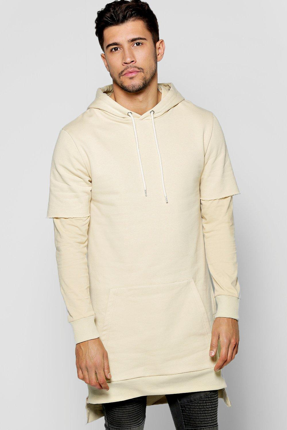 Faux Layer Hoodie With Side Zips