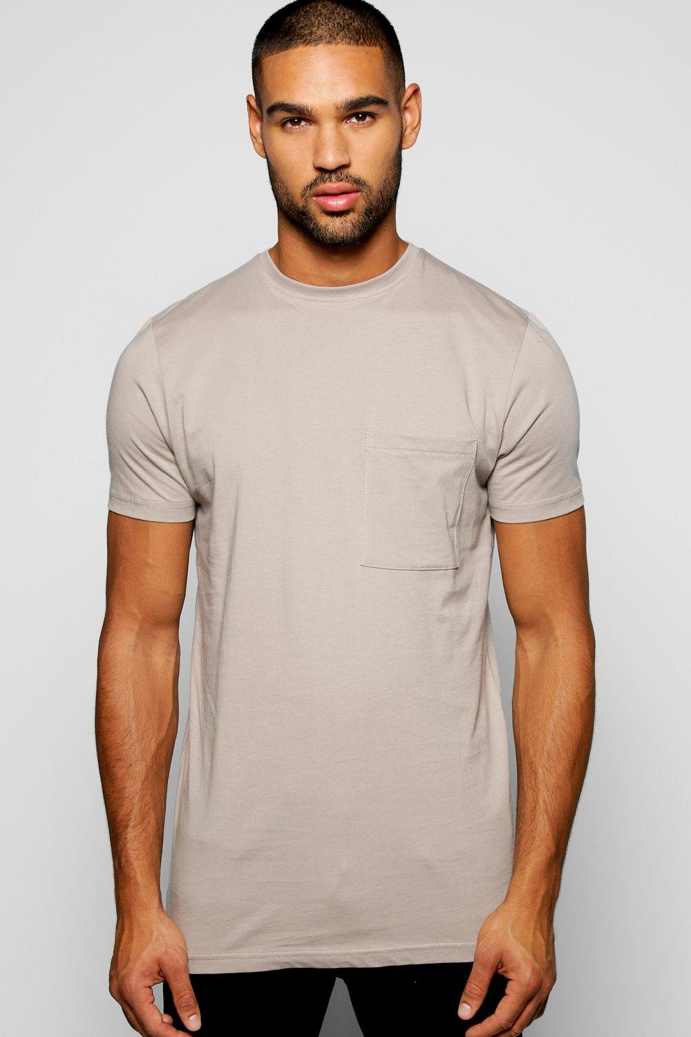 Longline Stepped Hem Pocket T Shirt