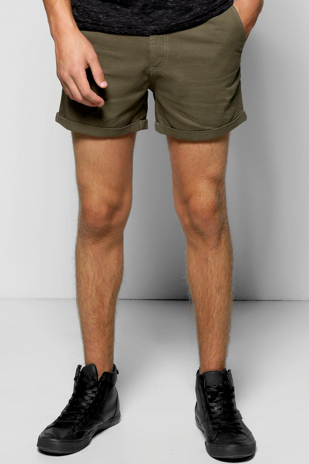 Cotton Twill Chino Shorts With Turn Ups