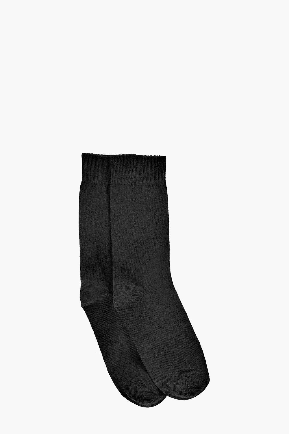 2 Pack Plain Black Cotton Socks