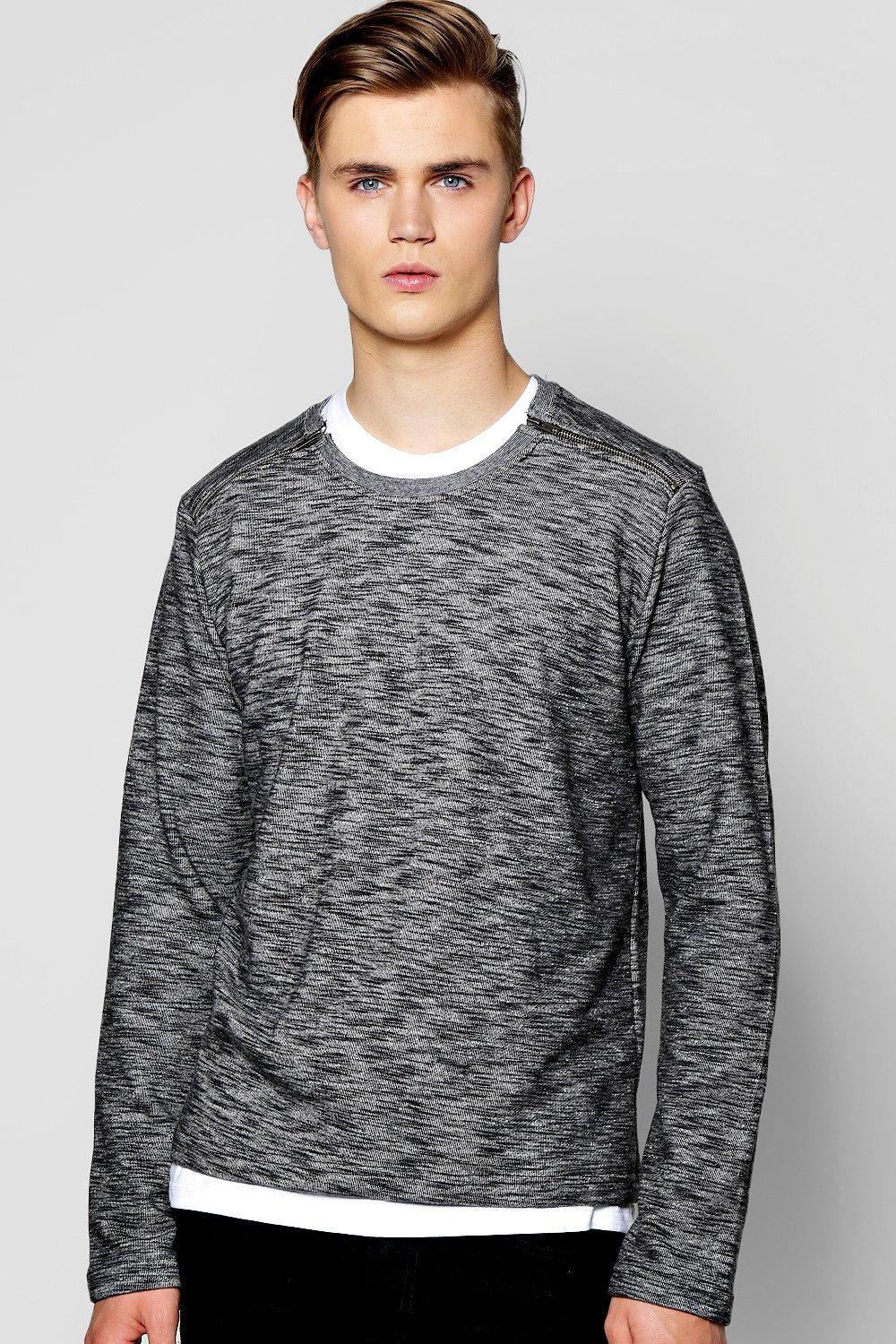 Longline Space Sweater With Zip Shoulders
