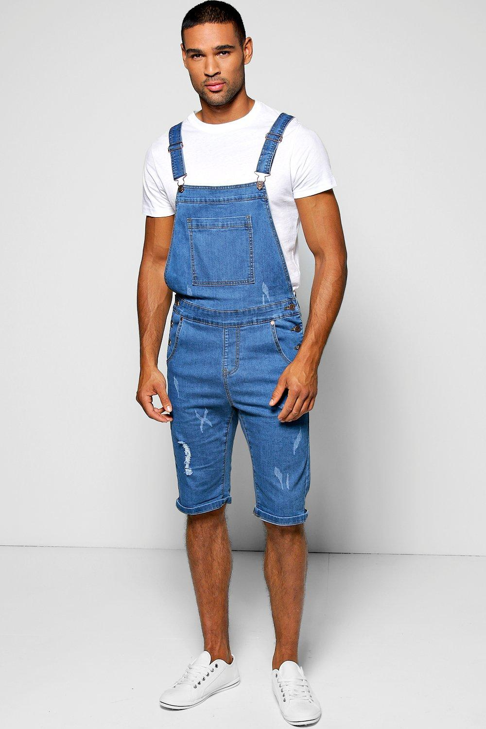 Slim Fit Denim Dungaree Shorts With Rips