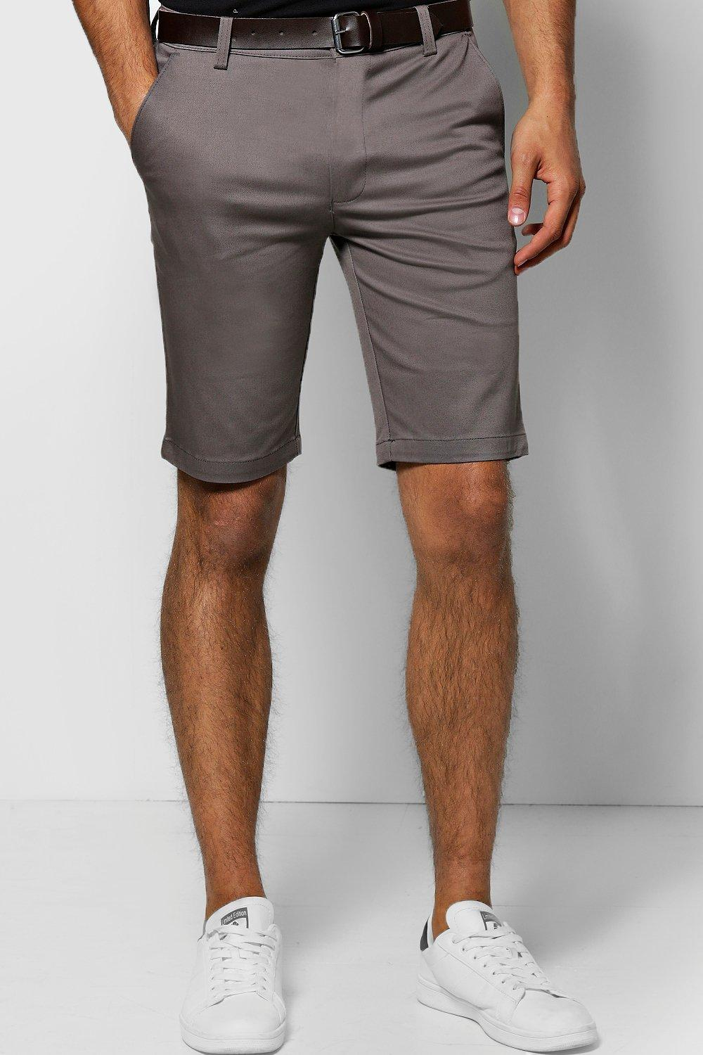 Stretch Skinny Chino Shorts With Belt
