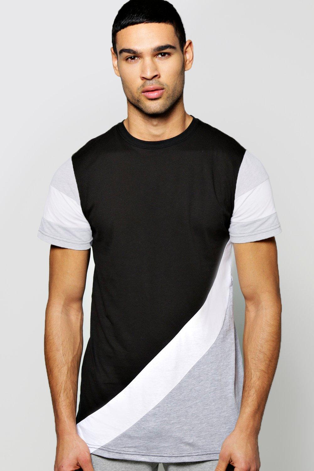 Diagonal Pieced T Shirt