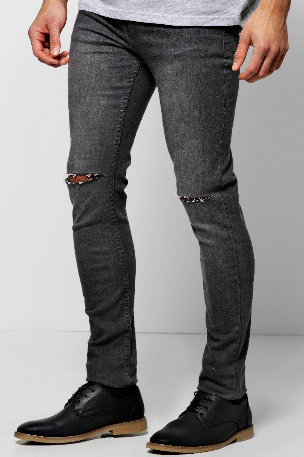Sandblasted Ripped Knee Grey Super Skinny Jean