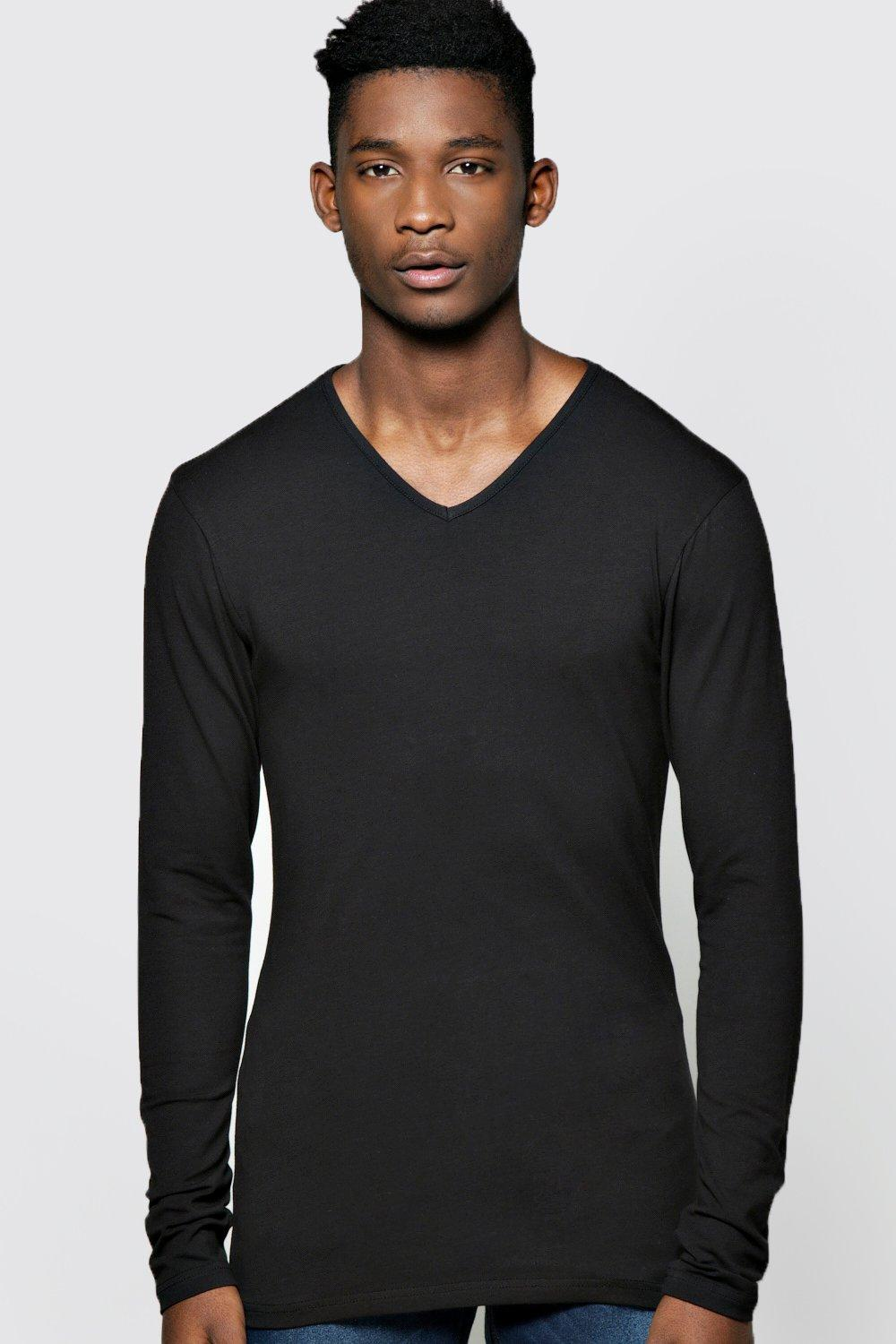 Extreme Muscle Fit Long Sleeve V Neck TShirt